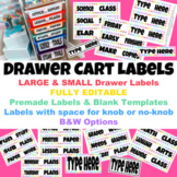 Drawer Cart Labels Editable   Small & Large Options