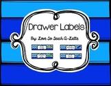 Sterilite Drawer Labels Wavy Blue & Pencils Edition
