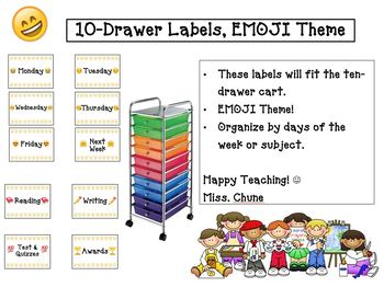 Drawer Labels Day of the Weeks Emoji Theme - 10 Drawer Cart