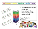 Drawer Labels Day of the Weeks Rainbow Theme - 10 Drawer Cart
