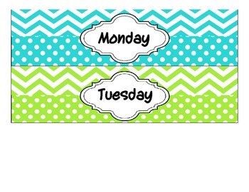 Drawer Labels - Days of the Week