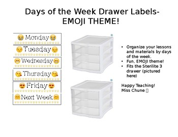 Drawer Labels Days of the Week EMOJI Theme - 3 Drawer