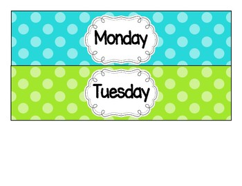 Drawer Labels - Days of the Week with Polka Dots