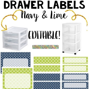 Drawer Labels- EDITABLE- Navy and Lime