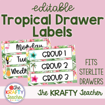 Drawer Labels Editable - Tropical - fits Sterilite drawers