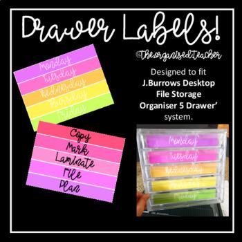 Drawer Labels (J.Burrows Desktop File Storage Organiser 5 Drawer' system)