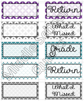 Drawer Labels - Purple, Teal, and Lime
