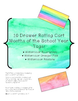 Drawer Lables for 10 Drawer Rolling Carts- Months of the Year