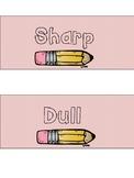 Drawer Organization Tags & Sharp Dull Sign (PINK SET)