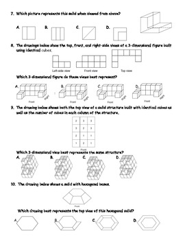 Drawing 3D Solids From Different Perspectives Word Problem Practice
