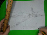 Drawing A  House With Garage In Two Point Perspective Easy