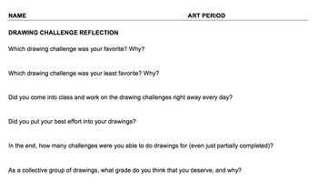 Drawing Challenges/Sketchbook Topic (#1-3) BUNDLE - PDF/WORD files