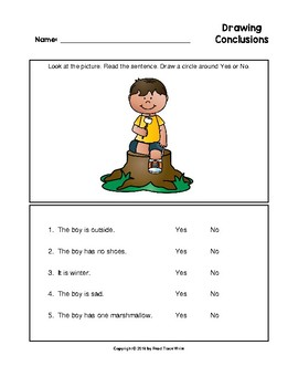 Drawing Conclusions Camping Theme Worksheets (Grades K-2)