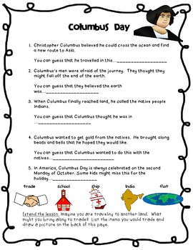 Drawing Conclusions: Columbus Day (1st-3rd Grades)