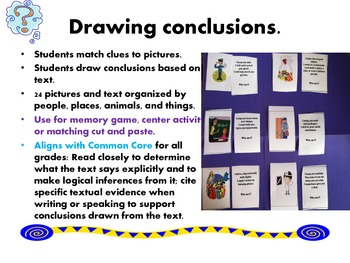 Drawing Conclusions:  Common core matching activity
