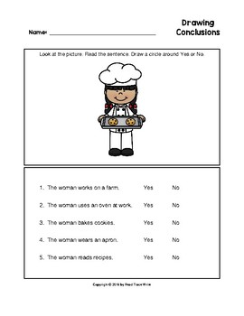 Drawing Conclusions Community Helpers Worksheets with Key (Grades K-2)