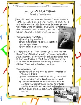 Drawing Conclusions: Mary McLeod Bethune