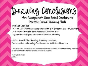 Drawing Conclusions Mini-Passage/Question Sets