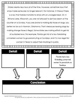 Drawing Conclusions Reading Passages and Questions with Graphic Organizers