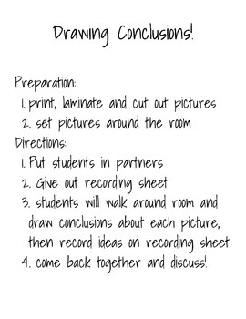 Drawing Conclusions Picture Scavenger Hunt!