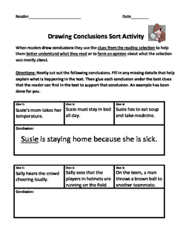 Drawing Conclusions Sorting Activity