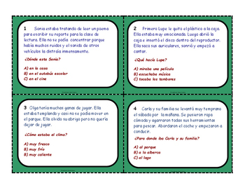 Drawing Conclusions Spanish Task Cards