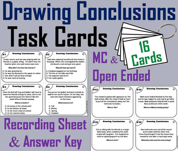 Drawing Conclusions Task Cards 3rd 4th 5th Grade Inference