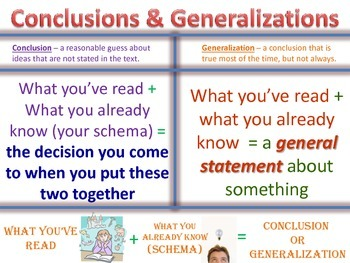 Drawing Conclusions and Making Generalizations... by Melissa ...