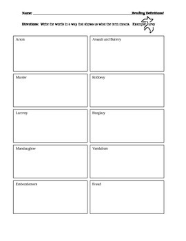 Drawing Definitions of Crimes - Criminal Law Vocabulary Worksheet