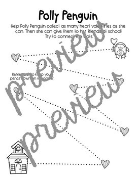 Drawing Diagonal Lines with Hearts & Penguins