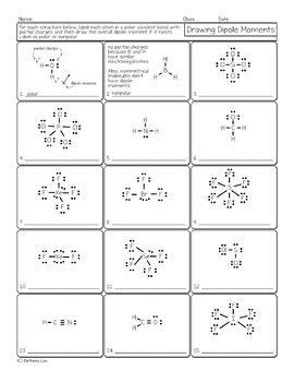 Drawing Dipole Moments Chemistry Homework Worksheet