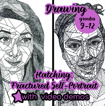 Drawing - Fractured Hatched Portrait with VIDEO demonstrations