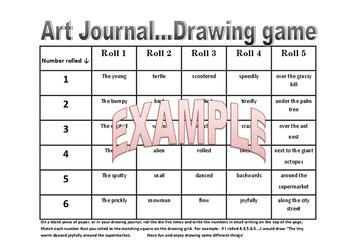 Visual Arts Drawing Game Roll The Dice Art Fun! Creative Writing Stimulus