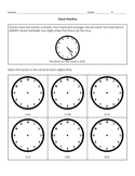 Drawing Hands on a Clock Worksheet - 5 Minute Increments