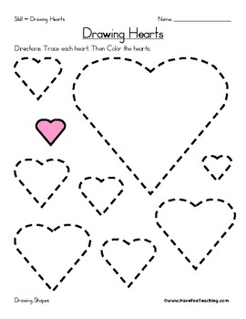 drawing hearts worksheet valentine 39 s day shapes worksheet tpt. Black Bedroom Furniture Sets. Home Design Ideas