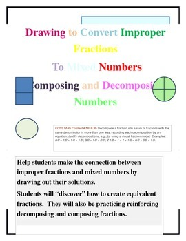 Drawing Improper Fractions and Mixed Numbers to Find Equivalent Forms