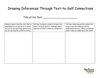 Drawing Inferences Using Text-to-Self/Text/World Connections
