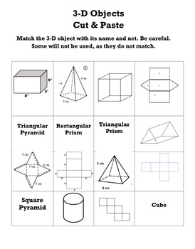 Drawing Nets from 3-D Objects Cut & Paste Activity