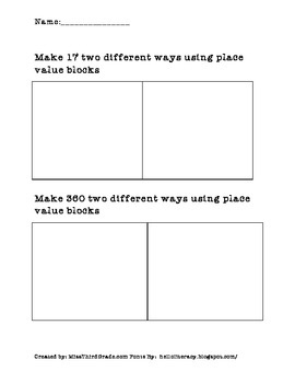 Drawing Numbers Two Different Ways With Place Value Blocks