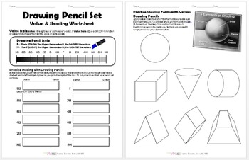 Drawing Pencil Set Value and Shading Worksheet