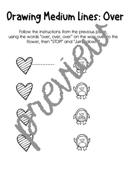 Drawing Prewriting Lines with Hearts & Penguins