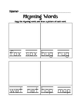 Drawing Rhyming Words