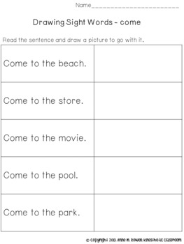 Sight Word Activity - Drawing: Pre-Primer Edition