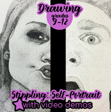 Drawing - Stippled Self Portrait with VIDEO Demonstrations