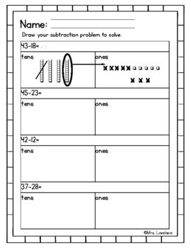 Drawing Subtraction:  Regrouping in Base-Ten