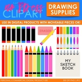 Drawing Supplies Clip Art Bold Set (Digital Use Ok!)