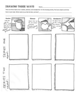 """Drawing Three Ways"" Practice Worksheet for Art"