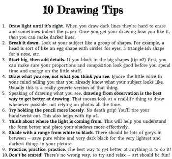 Drawing Tips Handout
