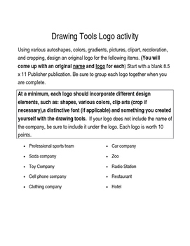 Drawing Tools Logo activity; Microsoft Publisher; Desktop Publishing