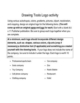 Drawing Tools Logo activity; Microsoft Publisher; Desktop